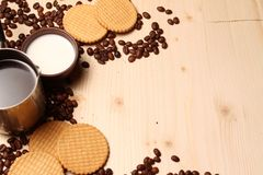 Coffee and cookies with milk Stock Image