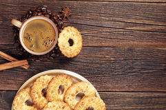 Coffee and cookies with nuts Stock Photography