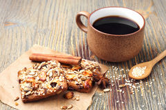 Coffee and cookies with nuts Royalty Free Stock Images