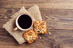 Coffee and cookies with nuts Stock Photo