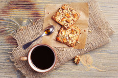Coffee and cookies with nuts Stock Images