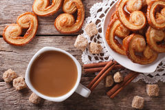 Coffee and cookies Palmiers close-up on the table. horizontal to Royalty Free Stock Photos