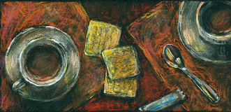 Coffee and cookies. Pastel chalks drawing. royalty free stock images