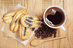 Coffee and cookies with poppy Royalty Free Stock Photography