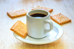 Coffee with Cookies on Wooden Table. Royalty Free Stock Photos