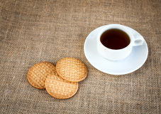 Coffee with cookies on woven bag Royalty Free Stock Image