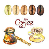 Coffee copper jezva pot, cup on the saucer with beverage and line of level coffee roasts from light to dark royalty free illustration