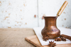 Coffee in a copper turk Royalty Free Stock Photo
