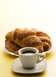 Coffee with corissants Stock Images
