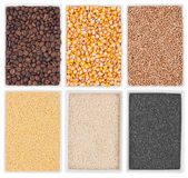 Coffee, corn, wheat, poppy, sesame, millet in a of ceramic plate Stock Image