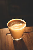 Coffee 2. Cortado in glass cup, with Rosetta Royalty Free Stock Images