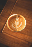 Coffee 1. Cortado in glass cup, with Rosetta Royalty Free Stock Photography
