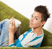 Coffee in the Couch Royalty Free Stock Photography