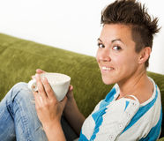 Coffee in the Couch Stock Photography