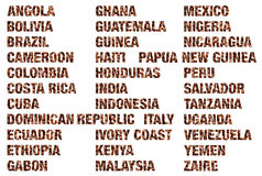 Coffee countries words written coffee beans isolated. On white Royalty Free Stock Photography