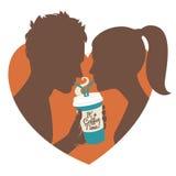 coffee couple drinking Επίπεδο ύφος απεικόνιση αποθεμάτων