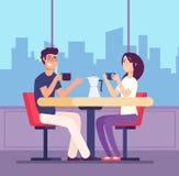 coffee couple drinking Φλερτάροντας γυναίκα και άνδρας στον πίνακα με τα φλυτζάνια coffe στον καφέ Ρομαντική διανυσματική έννοια  διανυσματική απεικόνιση