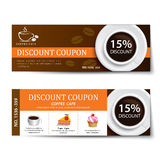 Coffee coupon discount template design Royalty Free Stock Images