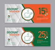 Coffee coupon discount template, Gift voucher, label, banner, advertisement. Business vector eps10 stock illustration