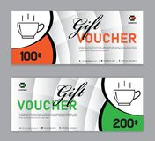 Coffee coupon discount template, Gift voucher, label, banner, advertisement, business vector. Eps10 vector illustration