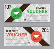 Coffee coupon discount template, Gift voucher, label, banner, advertisement, business vector stock illustration