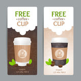 Coffee Coupon Set. Free Cup. Vector Royalty Free Stock Photos