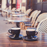 Coffee in cozy street cafe. In Europe stock photo