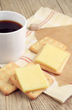 Coffee and cracker with cheese Royalty Free Stock Photos