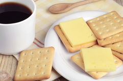 Coffee and cracker cookies with cheese Royalty Free Stock Photo