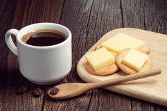 Coffee and crackers with cheese Stock Photos