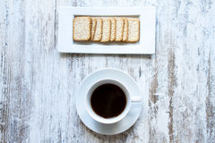 Coffee with crackers Stock Image