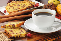 Coffee and cranberry bread Stock Photos