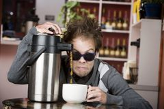 Coffee Crazed Young Man Royalty Free Stock Photography