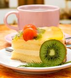 Coffee Cream Cake Indicates Decaf Refreshment And Caffeine. Strawberry Cake Coffee Meaning Refreshment Tasty And Delicious stock image