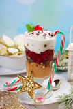 Coffee and cream dessert with cherry for christmas Stock Photo