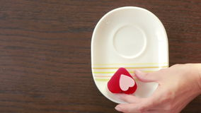 Coffee with cream heart form. Valentine Day. breakfast. Coffee with cream heart form. Valentine's Day stock footage