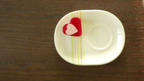 Coffee with cream heart form. Valentine Day. breakfast. Coffee with cream heart form. Valentine`s Day stock video