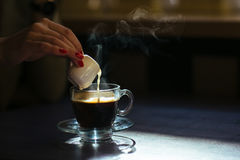 Coffee with cream on table Stock Photo