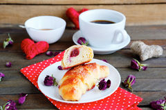 Coffee with crispy French croissant Stock Image
