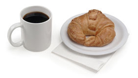 Coffee & croissant. Coffee and croissant on white Stock Photo