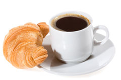 Coffee and croissant Stock Images