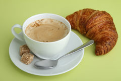 Coffee and croissant. Cup of coffee and croissant, breakfast Royalty Free Stock Images