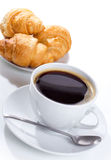 Coffee and croissant. Breakfast with coffee and croissant Stock Image