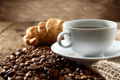 Coffee with croissant Stock Photos