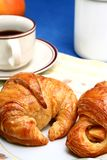 Coffee and croissant. Breakfast of coffee and croissant stock photos