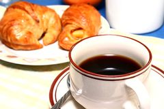 Coffee and croissant. Breakfast of coffee and croissant stock photography