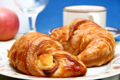 Coffee and croissant. Breakfast or snack of coffee and croissant Royalty Free Stock Image