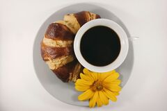 Coffee and croissant Royalty Free Stock Image