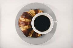 Coffee and croissant Royalty Free Stock Photography