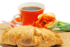 Coffee and croissant, breakfast Stock Photography